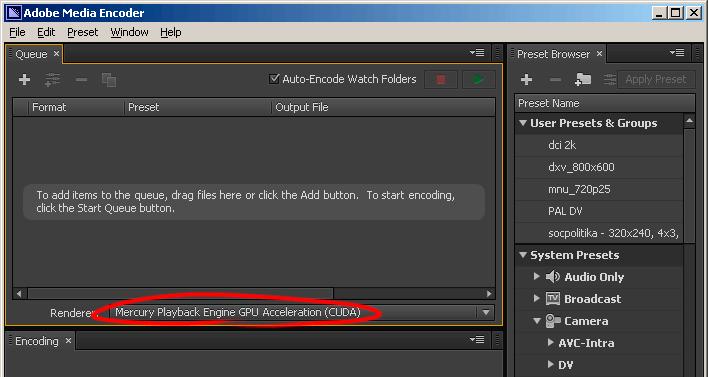 CUDA во Adobe Media Encoder